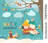 cute girl and unicorn swinging... | Shutterstock .eps vector #758999986
