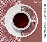 cup of coffee with colorful... | Shutterstock .eps vector #759001120