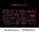 neon colors on a black... | Shutterstock .eps vector #759004324