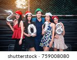cheerful party new year with... | Shutterstock . vector #759008080