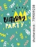 birthday party card. design for ... | Shutterstock .eps vector #759009238