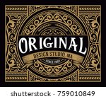 vintage badge with floral... | Shutterstock .eps vector #759010849