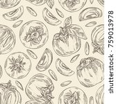 seamless pattern with persimmon ... | Shutterstock .eps vector #759013978