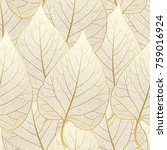 seamless pattern with leaves.... | Shutterstock .eps vector #759016924