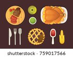 thanksgiving dish menu top view ... | Shutterstock .eps vector #759017566