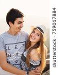 the boy hugs his girlfriend and ... | Shutterstock . vector #759017884