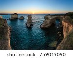 twilight seascape with cliffs ... | Shutterstock . vector #759019090