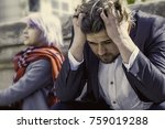 pain from the quarrel. angry... | Shutterstock . vector #759019288