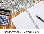 blank notepad with pen  dollar... | Shutterstock . vector #759019579