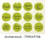 vector organic labels  bio... | Shutterstock .eps vector #759019708