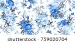 seamless pattern with flowers... | Shutterstock . vector #759020704