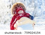 sled and snow fun for kids.... | Shutterstock . vector #759024154