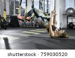 cute girl is training with trx... | Shutterstock . vector #759030520