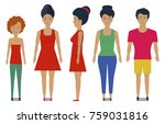 set with people standing in... | Shutterstock .eps vector #759031816