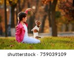 Stock photo portrait of a little girl on a background of blurred orange leaves in an autumnal sunny day little 759039109