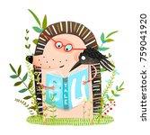 hedgehog and crow friends... | Shutterstock . vector #759041920