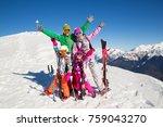 happy family in alpin ski... | Shutterstock . vector #759043270