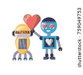 cute couple of cartoon robots...   Shutterstock .eps vector #759049753