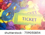 rio tickets sit with sparkly... | Shutterstock . vector #759050854