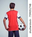 photo of rear view teen boy in... | Shutterstock . vector #759051748