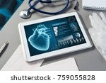 white tablet pc and doctor... | Shutterstock . vector #759055828