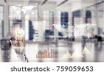 hand of businesswoman working... | Shutterstock . vector #759059653