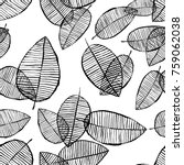 vector seamless outline leaves... | Shutterstock .eps vector #759062038