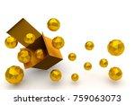 3d rendering box and gold balls ... | Shutterstock . vector #759063073