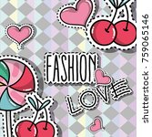 fashion patches trendy... | Shutterstock .eps vector #759065146