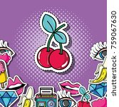 pop art cherry with patches... | Shutterstock .eps vector #759067630