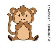 cute monkey cartoon | Shutterstock .eps vector #759069676