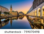 sunset at the city hall in... | Shutterstock . vector #759070498