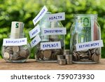 group of glass jar bottles with ... | Shutterstock . vector #759073930