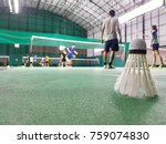 the shuttlecock is placed on a... | Shutterstock . vector #759074830