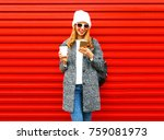 fashion smiling woman is using... | Shutterstock . vector #759081973