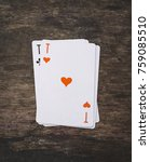 Small photo of playing cards ace of hearts