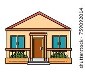 beautiful front of house | Shutterstock .eps vector #759092014