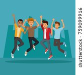 friends jumping in the city | Shutterstock .eps vector #759099916