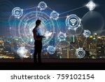 asian businessman standing and... | Shutterstock . vector #759102154