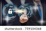 businessman fingerprint scan...   Shutterstock . vector #759104368