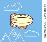 vector flate linear cute little ... | Shutterstock .eps vector #759118144