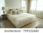 white pillows setting on bed... | Shutterstock . vector #759122683