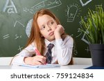 little girl  child  schoolgirl  ... | Shutterstock . vector #759124834