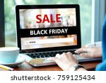 woman hands typing laptop... | Shutterstock . vector #759125434
