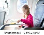 child in airplane. kid in air... | Shutterstock . vector #759127840