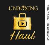golden glitter vlog  video blog ... | Shutterstock .eps vector #759127888