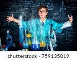 smart boy scientist making... | Shutterstock . vector #759135019