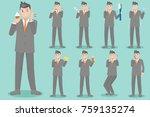 cartoon business man with...   Shutterstock .eps vector #759135274