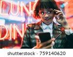 attractive brunette woman in... | Shutterstock . vector #759140620
