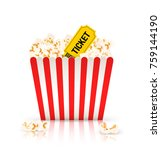 bucket of popcorn with ticket... | Shutterstock .eps vector #759144190